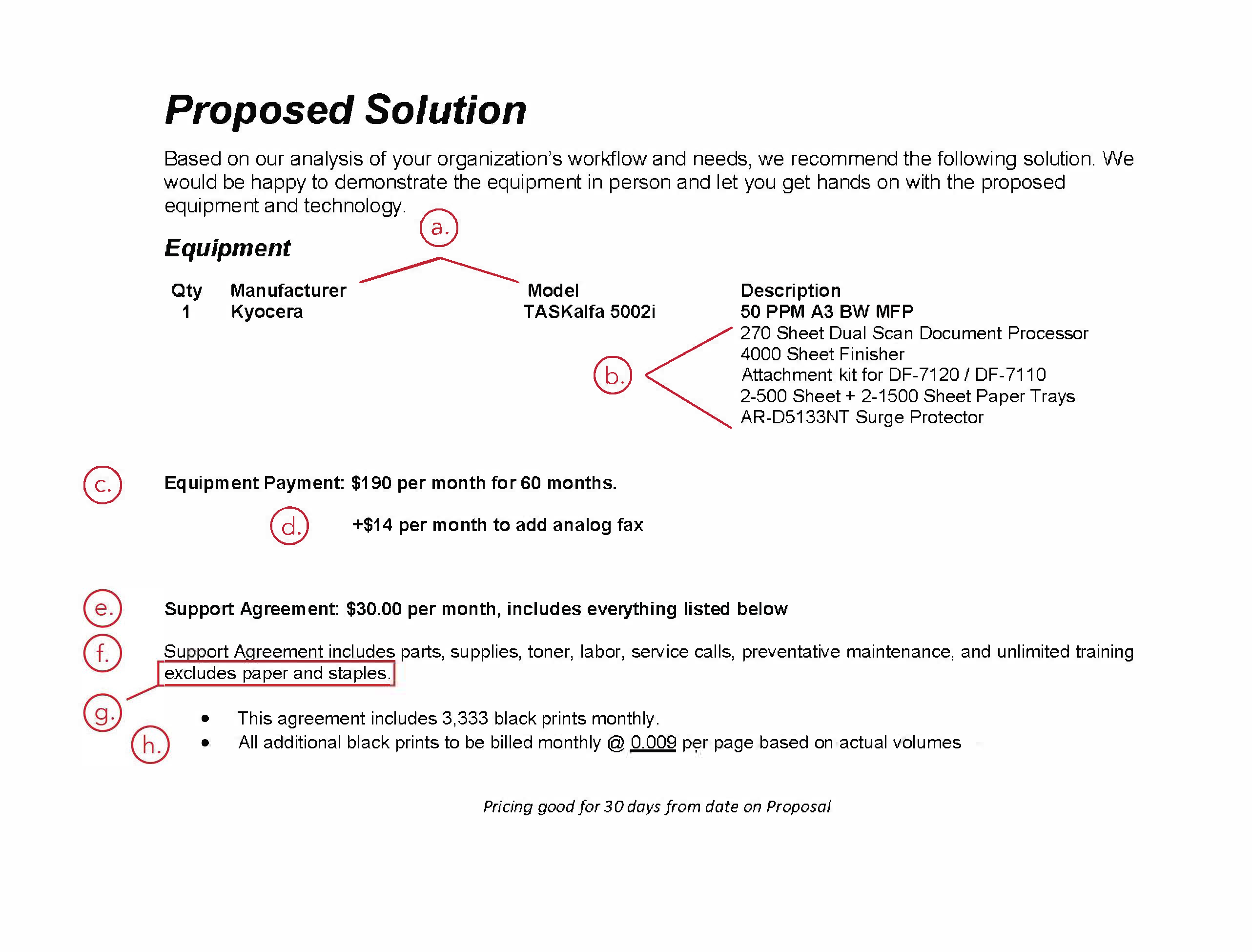 Proposal Example C: Proposed Solution Based on our analysis of your organization's workflow and needs, we recommend the following solution. We would be happy to demonstrate the equipment in person and let you get hands on with the proposed equipment and technology. Equipment Qty: 1, Manufacturer: Kyocera, Model: TASKalfa 502i, Description: 50 PPM A3 BW MFP 270 Sheet Dual Scan Document Processor 4000 Sheet Finisher Attachment kit for DF-7120 / DF-7110 2-500 Sheet + 2-1500 Sheet Paper Trays AR-D5133NT Surge Protector Equipment Payment: $190 per month for 60 months. +$14 per month to add analog fax Support Agreement: $30.00 per month, includes everything listed below Support Agreement includes parts, supplies, toner, labor, service calls, preventative maintenance, and unlimited training excludes paper and staples. This agreement includes 3,333 black prints monthly. All additional black prints to be billed monthly @ 0.00900 per page based on actual volumes.